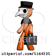 Orange Plague Doctor Man Walking With Briefcase To The Left