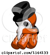Orange Plague Doctor Man Sitting With Head Down Facing Angle Left