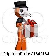 Orange Plague Doctor Man Giving A Present