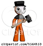 Orange Plague Doctor Man With Sledgehammer Standing Ready To Work Or Defend