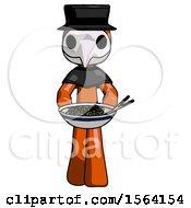 Orange Plague Doctor Man Serving Or Presenting Noodles