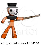 Orange Plague Doctor Man Bo Staff Pointing Right Kung Fu Pose