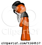 Orange Plague Doctor Man Depressed With Head Down Back To Viewer Left