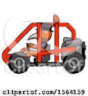 Orange Plague Doctor Man Riding Sports Buggy Side View