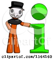 Orange Plague Doctor Man With Info Symbol Leaning Up Against It
