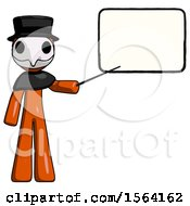 Orange Plague Doctor Man Giving Presentation In Front Of Dry Erase Board