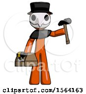 Orange Plague Doctor Man Holding Tools And Toolchest Ready To Work