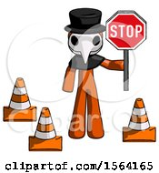 Orange Plague Doctor Man Holding Stop Sign By Traffic Cones Under Construction Concept