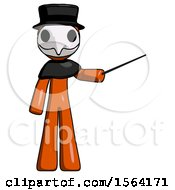 Orange Plague Doctor Man Teacher Or Conductor With Stick Or Baton Directing
