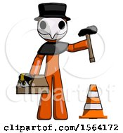 Orange Plague Doctor Man Under Construction Concept Traffic Cone And Tools