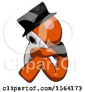 Orange Plague Doctor Man Sitting With Head Down Facing Sideways Left