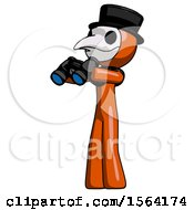 Orange Plague Doctor Man Holding Binoculars Ready To Look Left
