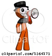 Orange Plague Doctor Man Shouting Into Megaphone Bullhorn Facing Right