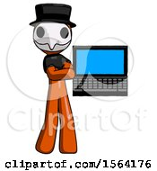 Orange Plague Doctor Man Holding Laptop Computer Presenting Something On Screen