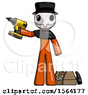 Orange Plague Doctor Man Holding Drill Ready To Work Toolchest And Tools To Right