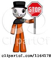 Orange Plague Doctor Man Holding Stop Sign