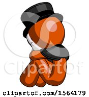 Orange Plague Doctor Man Sitting With Head Down Back View Facing Left