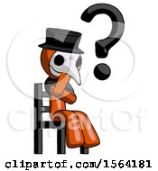 Orange Plague Doctor Man Question Mark Concept Sitting On Chair Thinking