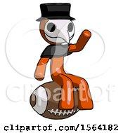 Orange Plague Doctor Man Sitting On Giant Football