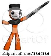 Orange Plague Doctor Man Demonstrating That Indeed The Pen Is Mightier