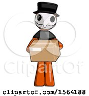 Orange Plague Doctor Man Holding Box Sent Or Arriving In Mail