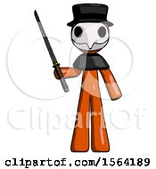 Orange Plague Doctor Man Standing Up With Ninja Sword Katana
