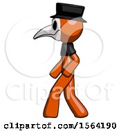 Orange Plague Doctor Man Walking Left Side View