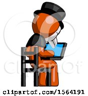 Orange Plague Doctor Man Using Laptop Computer While Sitting In Chair View From Back