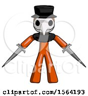 Orange Plague Doctor Man Two Sword Defense Pose