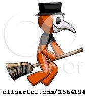 Orange Plague Doctor Man Flying On Broom
