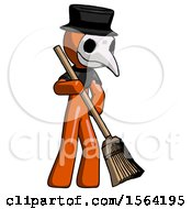 Orange Plague Doctor Man Sweeping Area With Broom