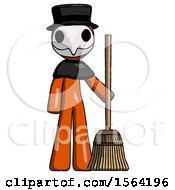 Orange Plague Doctor Man Standing With Broom Cleaning Services
