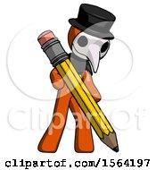 Orange Plague Doctor Man Writing With Large Pencil