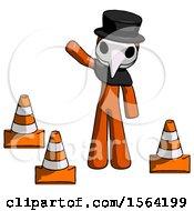 Orange Plague Doctor Man Standing By Traffic Cones Waving