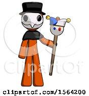 Orange Plague Doctor Man Holding Jester Staff