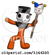 Orange Plague Doctor Man Holding Jester Staff Posing Charismatically
