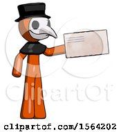 Orange Plague Doctor Man Holding Large Envelope