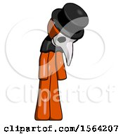 Orange Plague Doctor Man Depressed With Head Down Turned Right