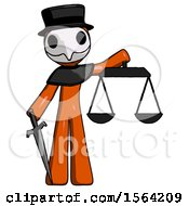 Orange Plague Doctor Man Justice Concept With Scales And Sword Justicia Derived