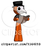 Orange Plague Doctor Man Reading Book While Standing Up Facing Away