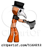 Orange Plague Doctor Man Dusting With Feather Duster Downwards