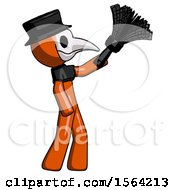 Orange Plague Doctor Man Dusting With Feather Duster Upwards