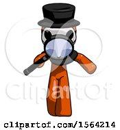 Orange Plague Doctor Man Looking Down Through Magnifying Glass