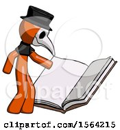 Orange Plague Doctor Man Reading Big Book While Standing Beside It