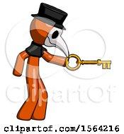 Orange Plague Doctor Man With Big Key Of Gold Opening Something