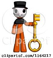 Orange Plague Doctor Man Holding Key Made Of Gold