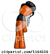 Orange Plague Doctor Man Depressed With Head Down Back To Viewer Right