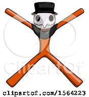 Orange Plague Doctor Man With Arms And Legs Stretched Out