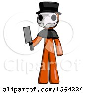 Orange Plague Doctor Man Holding Meat Cleaver