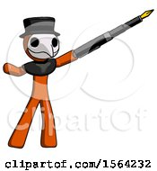 Orange Plague Doctor Man Pen Is Mightier Than The Sword Calligraphy Pose